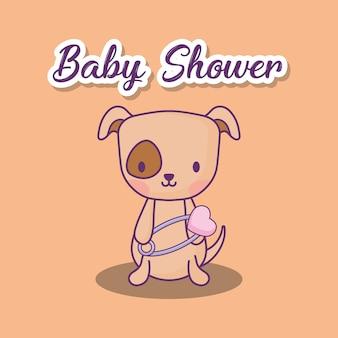 Design de chá de bebê com cachorro fofo