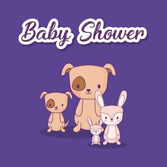 Design de chá de bebê com cães fofos e coelhos