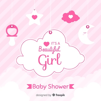 Design de chá de bebê rosa para menina