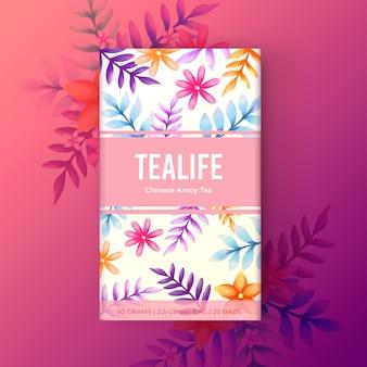 Design de chá em aquarela com flores em tons gradientes