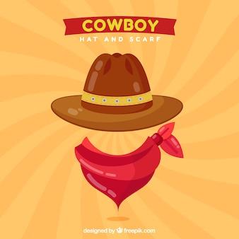 Design de chapéu de cowboy e cachecol