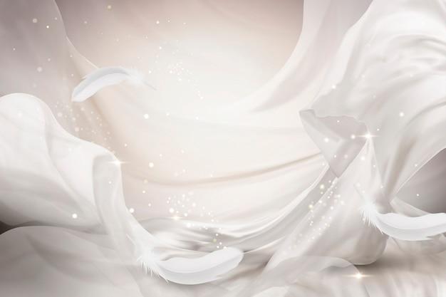 Design de chiffon branco pérola voando com penas