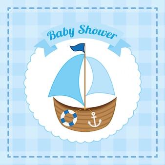Design de chuveiro de bebê sobre ilustração vetorial de fundo azul