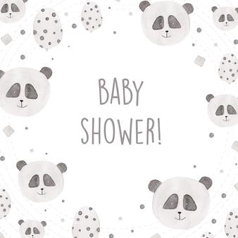 Design de chuveiro para bebês com pandas de aquarela