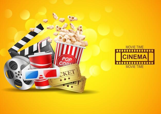 Design de cinema acima fundo amarelo