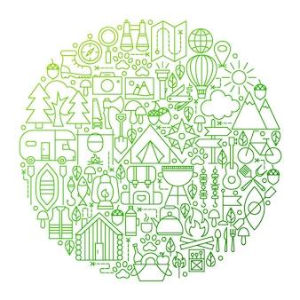 Design de círculo de ícone de linha de acampamento. ilustração em vetor de objetos de contorno de acampamento de verão.