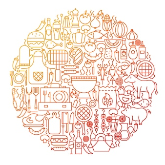 Design de círculo de ícone de linha de churrasco. ilustração em vetor de objetos de contorno de menu grill.
