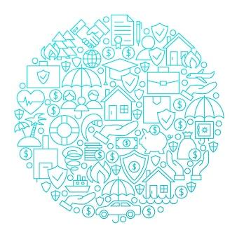 Design de círculo de ícone de linha de seguro. ilustração em vetor de objetos de negócios.