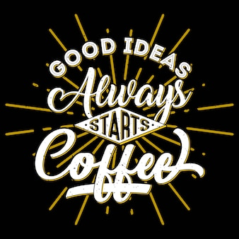 Design de citações de café vintage
