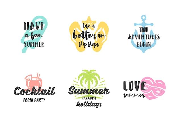 Design de citações inspiradoras de tipografia de férias de verão para conjunto de cartazes ou vestuários