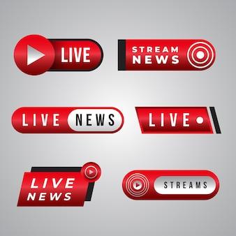 Design de coleção de banner de notícias de transmissões ao vivo