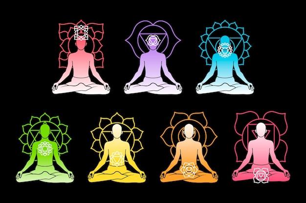 Design de coleção de chakras do corpo