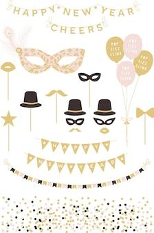 Design de coleção de clipart de feliz ano novo