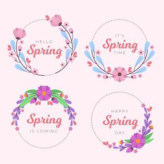 Design de coleção de distintivo de primavera de design plano