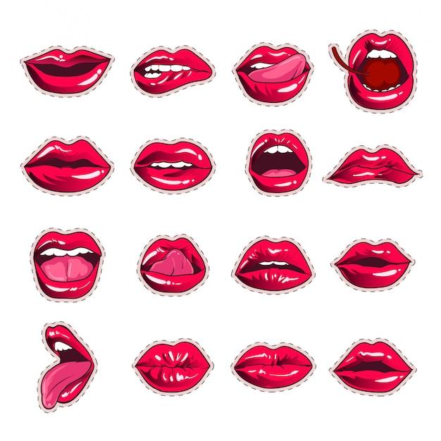 Design de coleção de etiqueta de lábios sexy boca