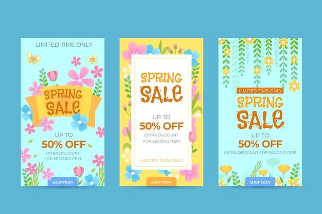 Design de coleção de história de instagram de venda de primavera
