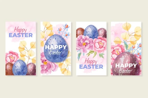 Design de coleção de histórias do instagram do dia de páscoa