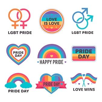 Design de coleção de lables do dia do orgulho