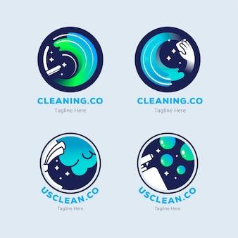 Design de coleção de logotipo de limpeza