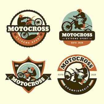 Design de coleção de logotipo de motocross