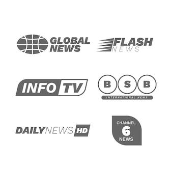 Design de coleção de logotipo de notícias