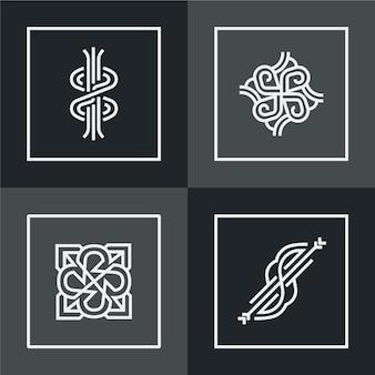 Design de coleção de logotipo linear abstrato