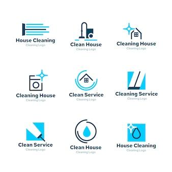 Design de coleção de logotipo para limpeza