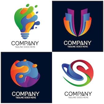 Design de coleção de logotipos abstrato colorido
