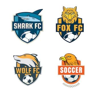 Design de coleção de modelo de logotipo de distintivo de futebol.