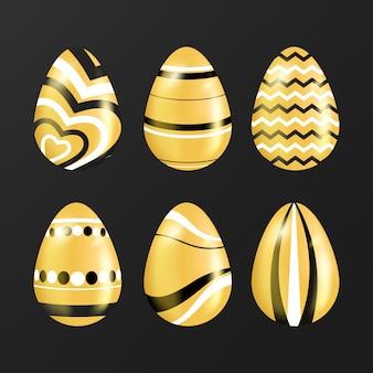 Design de coleção de ovo de dia de páscoa dourado
