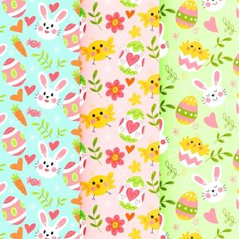 Design de coleção de padrão de dia da páscoa desenhados à mão