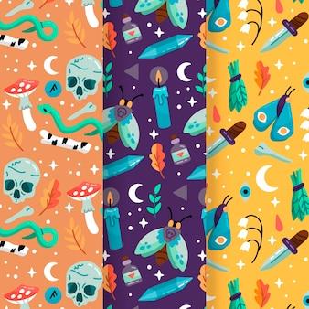 Design de coleção de padrão de halloween desenhados à mão
