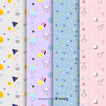 Design de coleção de padrão de memphis para plano de fundo