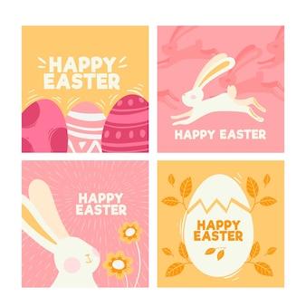 Design de coleção de post de dia da páscoa instagram