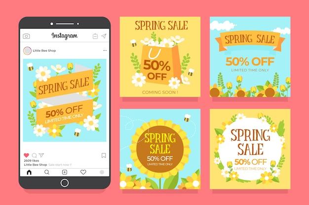 Design de coleção de postagens de venda de primavera