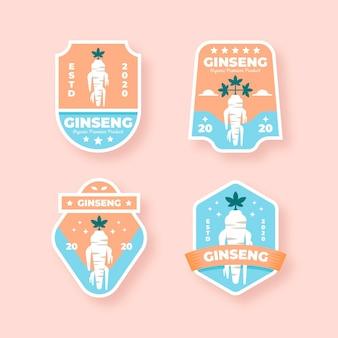 Design de coleção de rótulo de ginseng jar