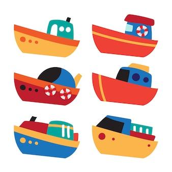 Design de coleção de vetor de barco