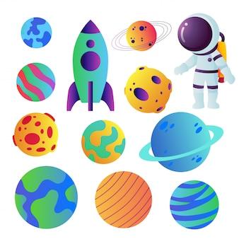 Design de coleção de vetores de ícones de espaço