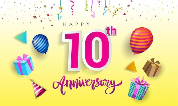 Design de comemoração do 10º aniversário com caixa de presente e balões