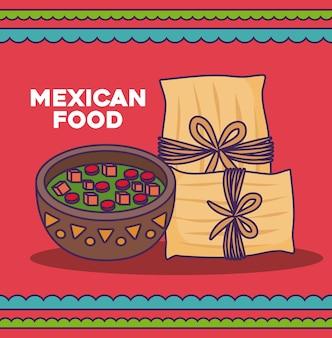 Design de comida mexicana com tamales e tigela de molho