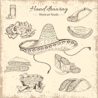 Design de comida mexicana mão desenhada