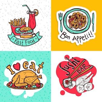Design de composição de ícones de conceito de restaurante