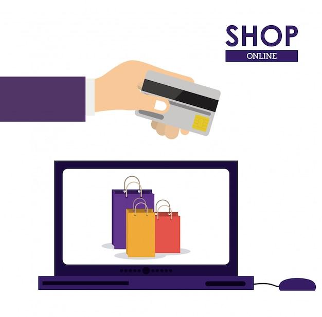 Design de compras online com computador portátil e cartão de crédito