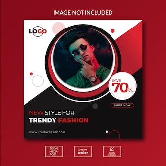 Design de conceito criativo modelo de banner de mídia social sobre moda