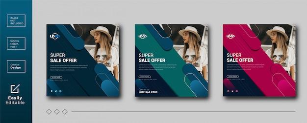 Design de conceito criativo modelo de banner de mídia social sobre venda