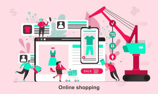 Design de conceito da web para compras online em estilo simples com personagens minúsculos