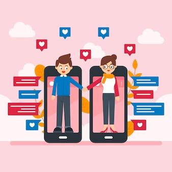 Design de conceito de aplicativo de namoro
