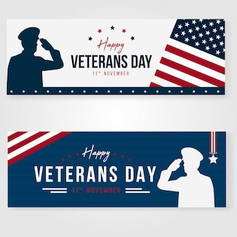 Design de conceito de banner dia dos veteranos elegan