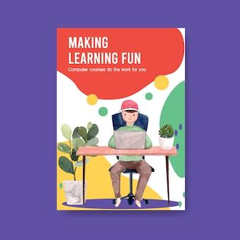 Design de conceito de cartaz de educação on-line, folheto e publicidade em aquarela