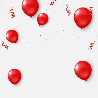 Design de conceito de confetes de balões vermelhos